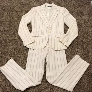 French white pinstripe pantsuit